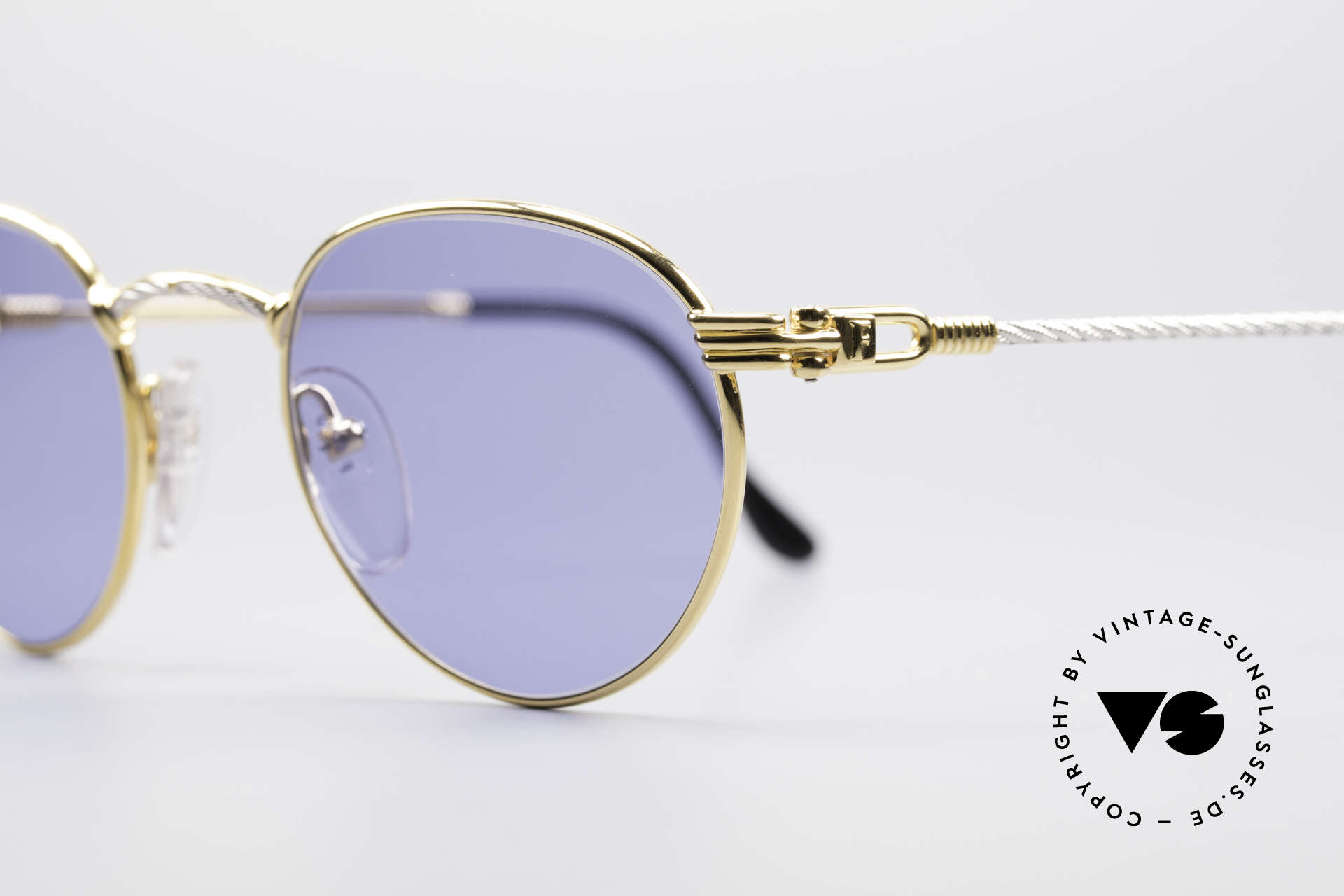 Fred Ouragan Luxury Panto Sunglasses, temples and bridge are twisted like a hawser; unique, Made for Men