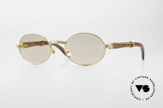 Cartier Giverny Oval Wood Sunglasses Details