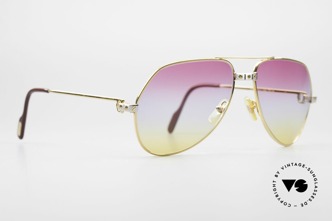 Cartier Vendome Santos - M Rare 80's Aviator Shades, Santos Decor (with 3 screws): MEDIUM size 59-16, 140, Made for Men and Women