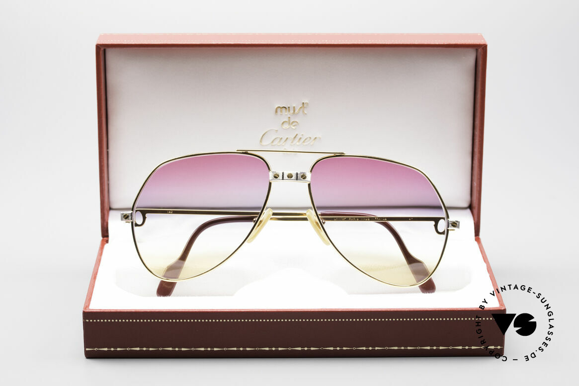 Cartier Vendome Santos - M Rare 80's Aviator Shades, ultra rare, new TRICOLOR customized GRADIENT lenses, Made for Men and Women