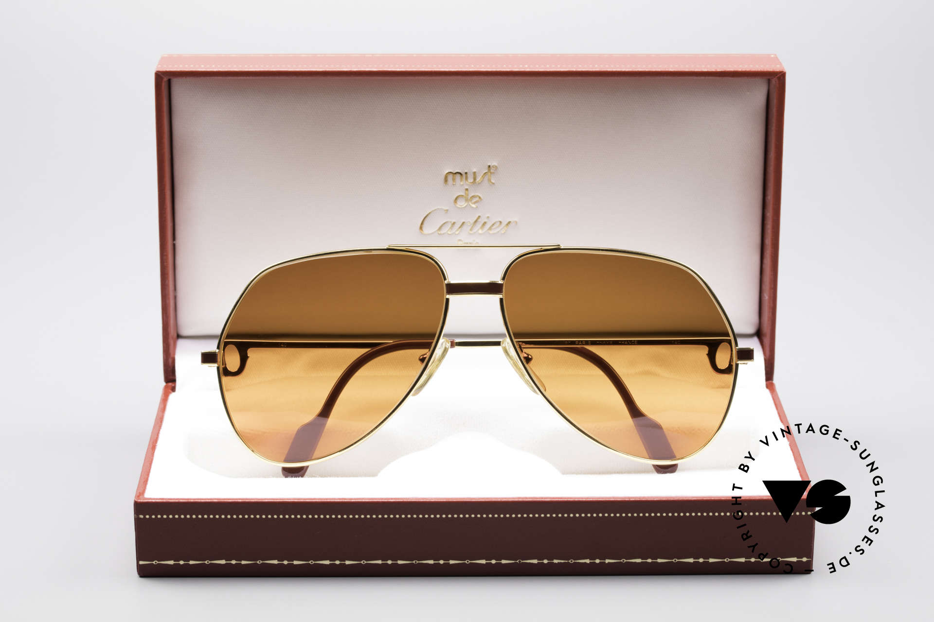 Cartier Vendome Laque - L Luxury 80's Aviator Sunglasses, the sun lenses are tinted like a sunset (auburn gradient), Made for Men and Women