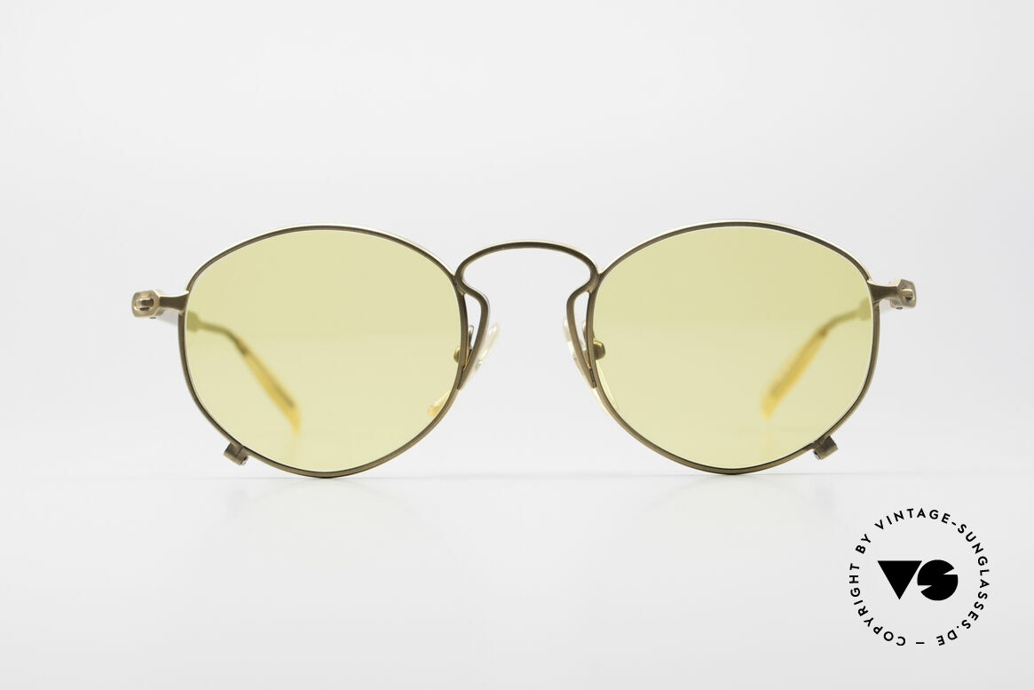 Jean Paul Gaultier 55-1171 Extraordinary Vintage Frame, extraordinary frame design with yellow lenses, Made for Men and Women