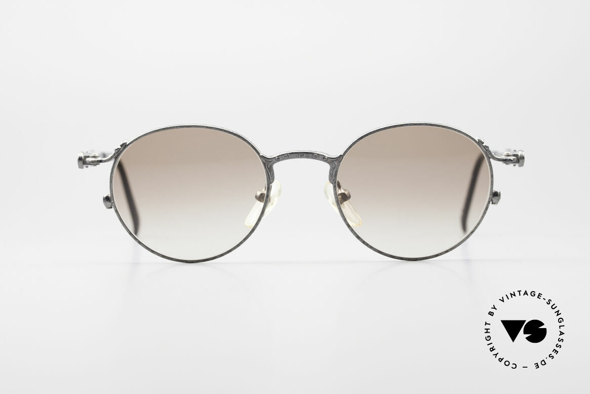 Jean Paul Gaultier 55-4177 Designer Panto Sunglasses, antique metal frame with 'J.P.G' logo on the bridge, Made for Men and Women