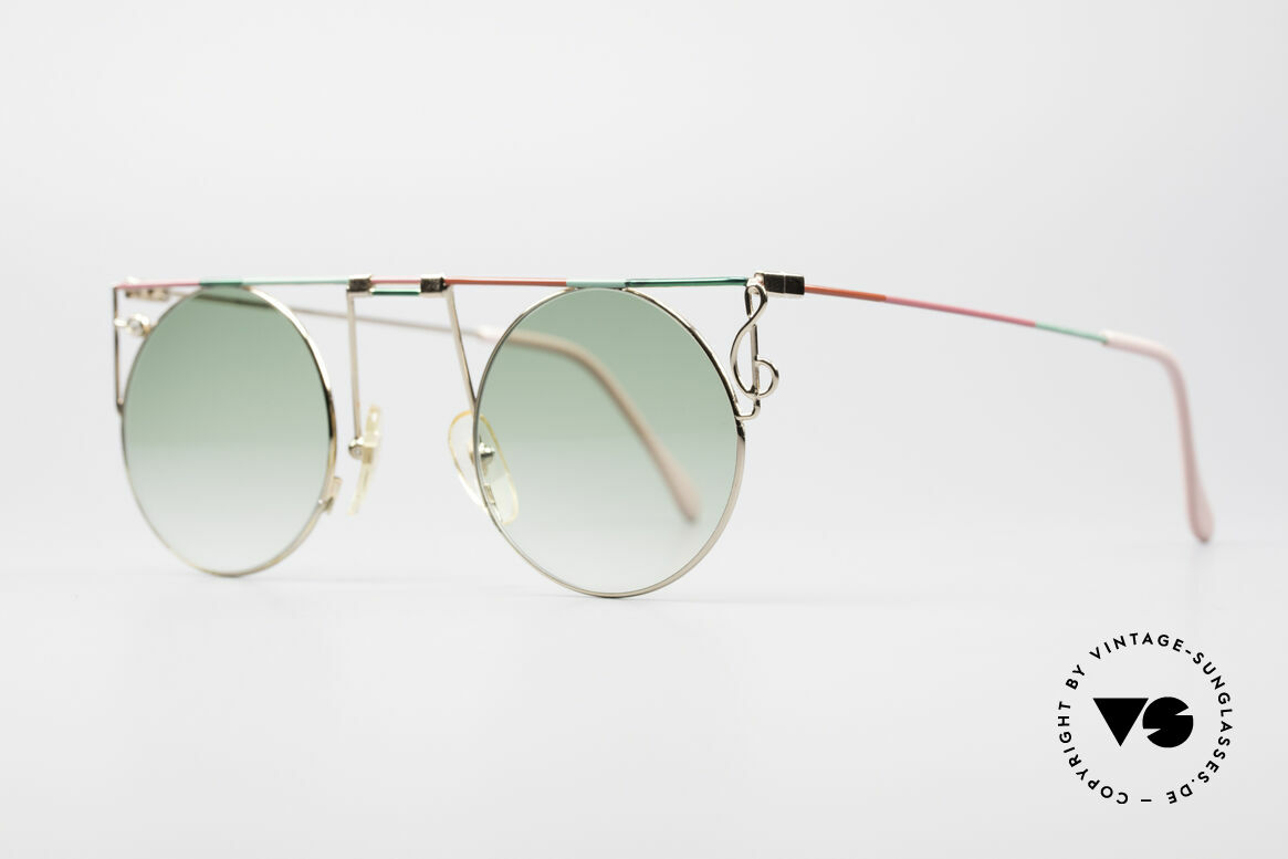 Casanova MTC 8 Artful Vintage Sunglasses, fancy details (clef on left side & gem on right side), Made for Women