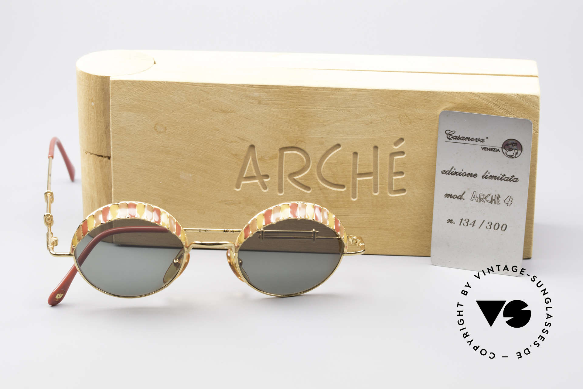Casanova Arché 4 Limited Gold Plated Frame, unworn + orig. wood box & certificate (collector's item), Made for Men and Women