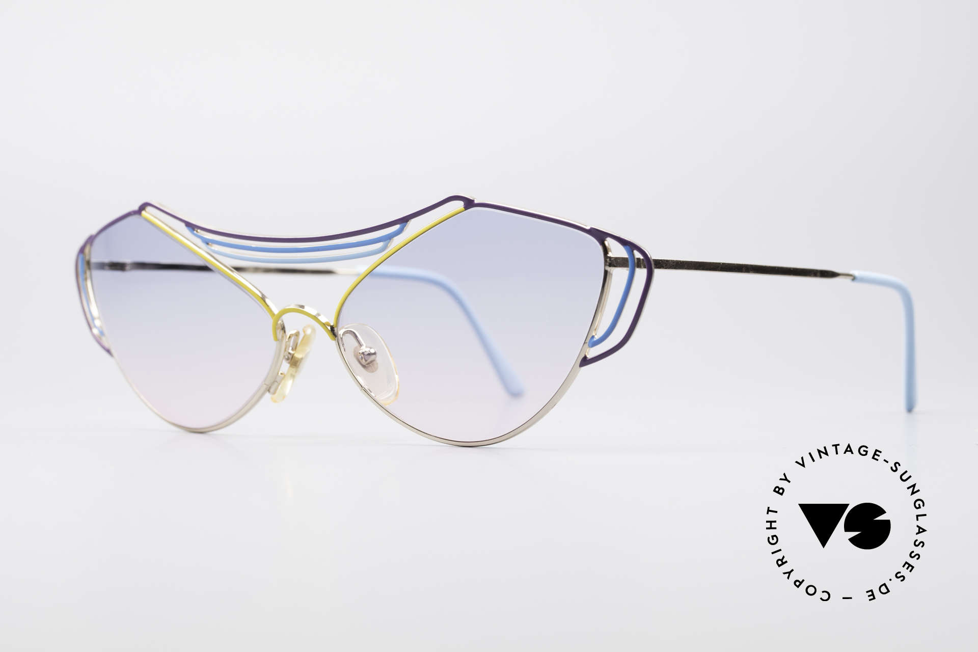 Casanova LC9 80's Art Sunglasses, gold-plated metal frame with a blue/yellow finish, Made for Women