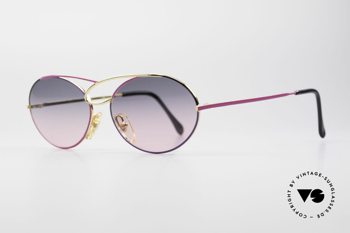 Casanova LC17 Vintage Ladies Sunglasses, gold-plated frame with fancy purple-pink sun lenses, Made for Women