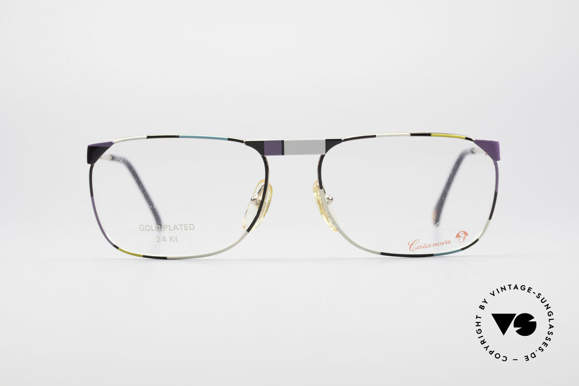 Casanova MC3 24KT Gold Plated Glasses, stylish, square-cut model - with striking pattern, Made for Men and Women