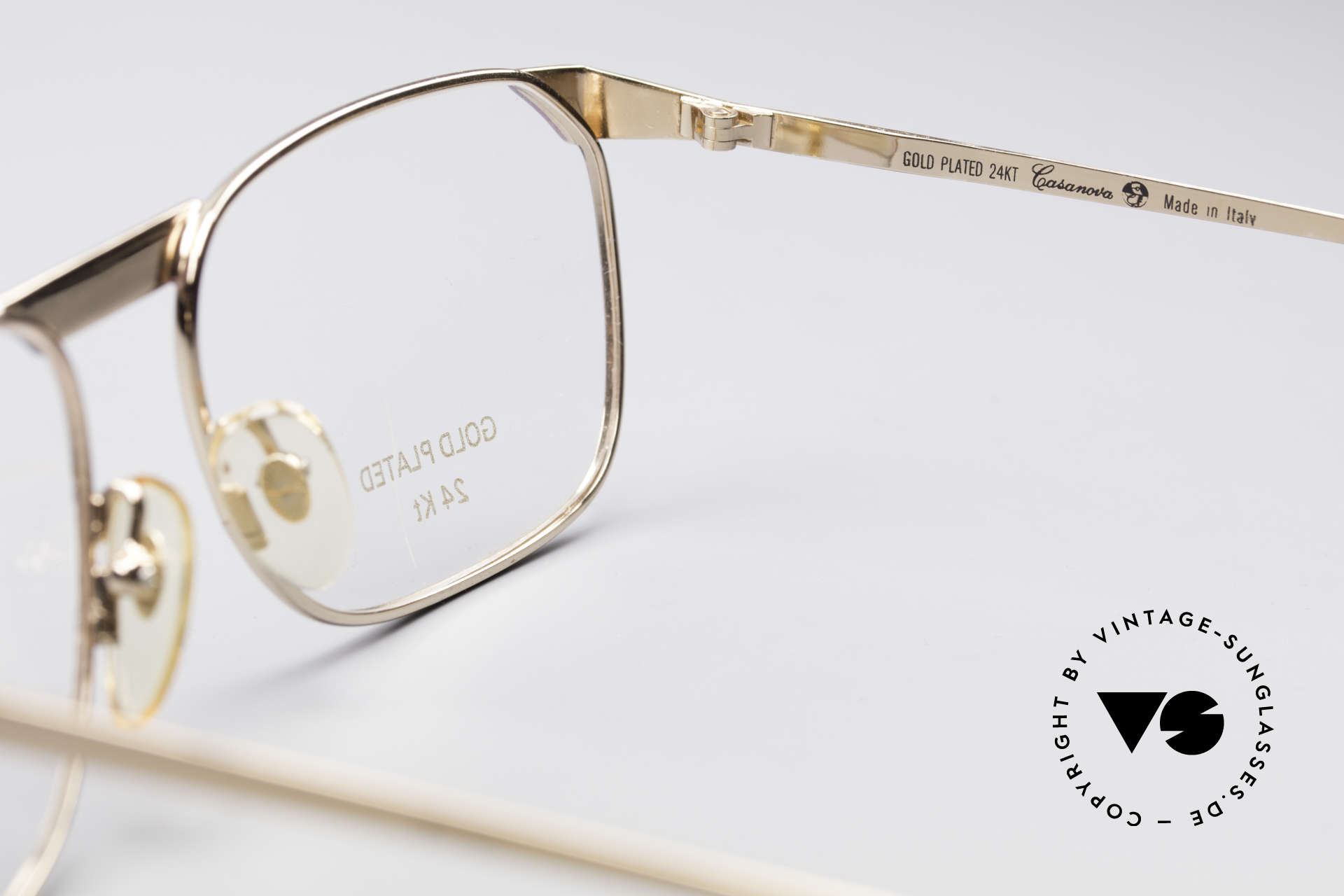 Casanova MC3 24KT Gold Plated Glasses, frame can be glazed with optical lenses of any kind, Made for Men and Women