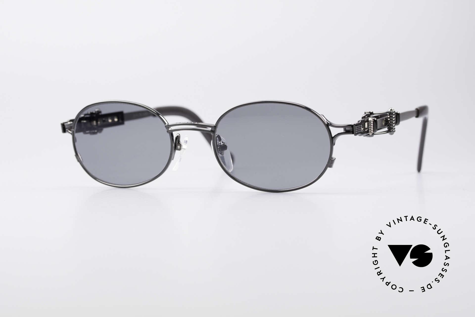 Jean Paul Gaultier 56-0020 Oval Belt Buckle Frame, vintage Jean Paul Gaultier sunglasses from 1996, Made for Men