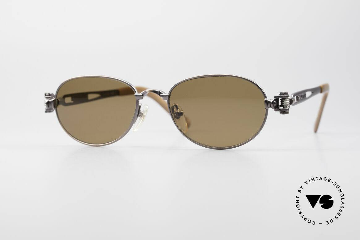 Jean Paul Gaultier 56-8102 Oval Steampunk Sunglasses, interesting vintage Jean Paul Gaultier sunglasses, Made for Men and Women