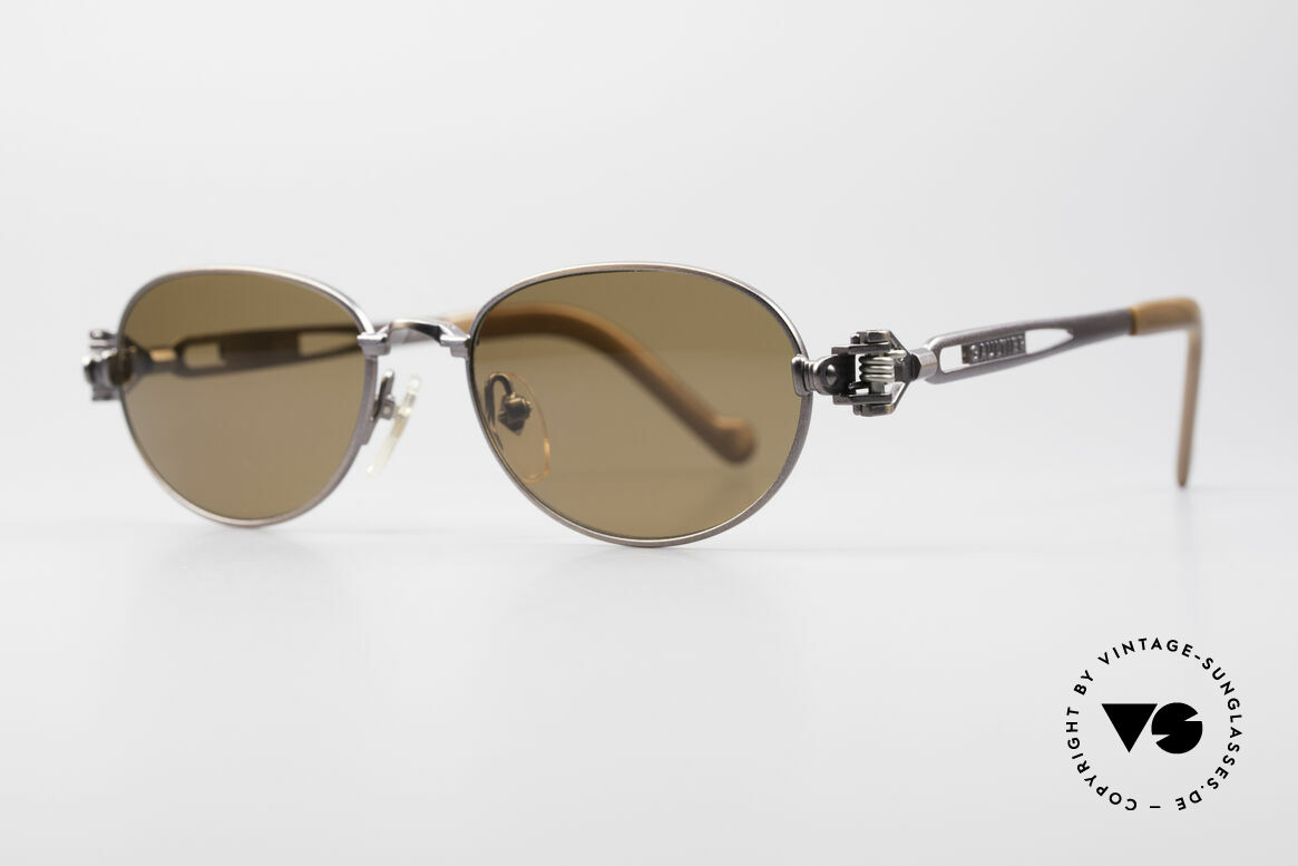 Jean Paul Gaultier 56-8102 Oval Steampunk Sunglasses, frame with some mechanical components / details, Made for Men and Women