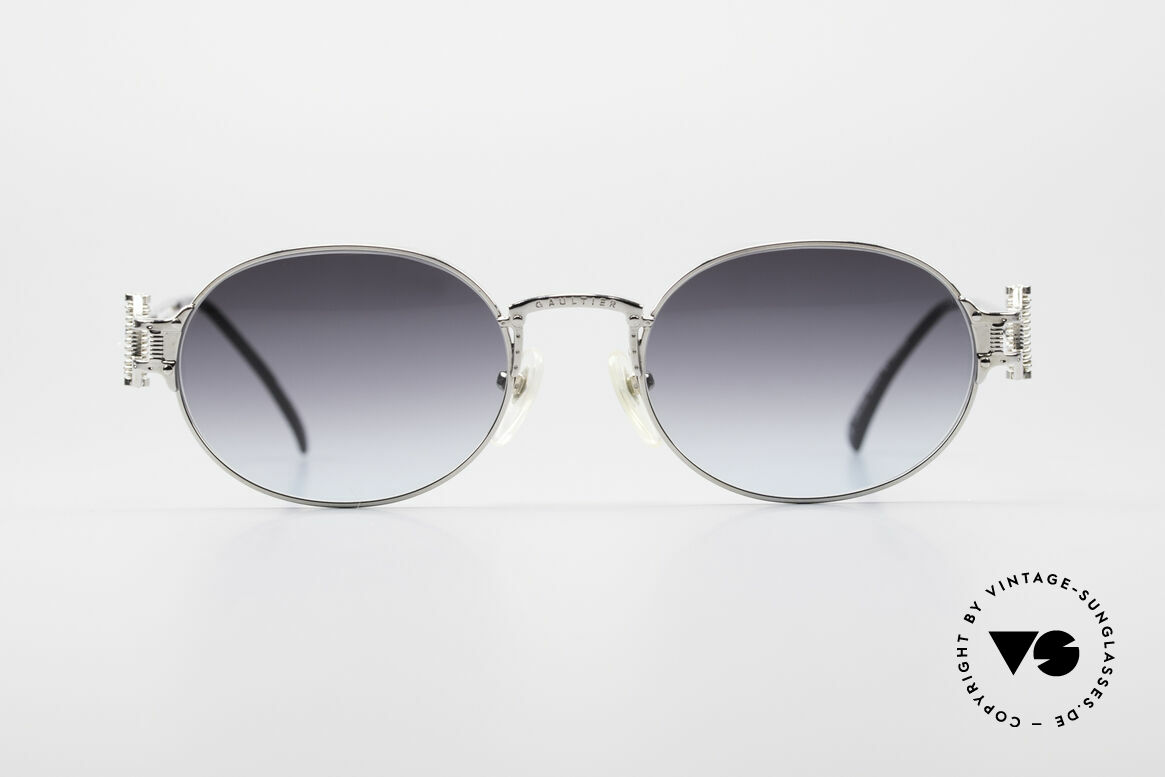 Jean Paul Gaultier 55-5110 Extraordinary Vintage Frame, spectacular frame with gray-blue gradient lenses, Made for Men and Women