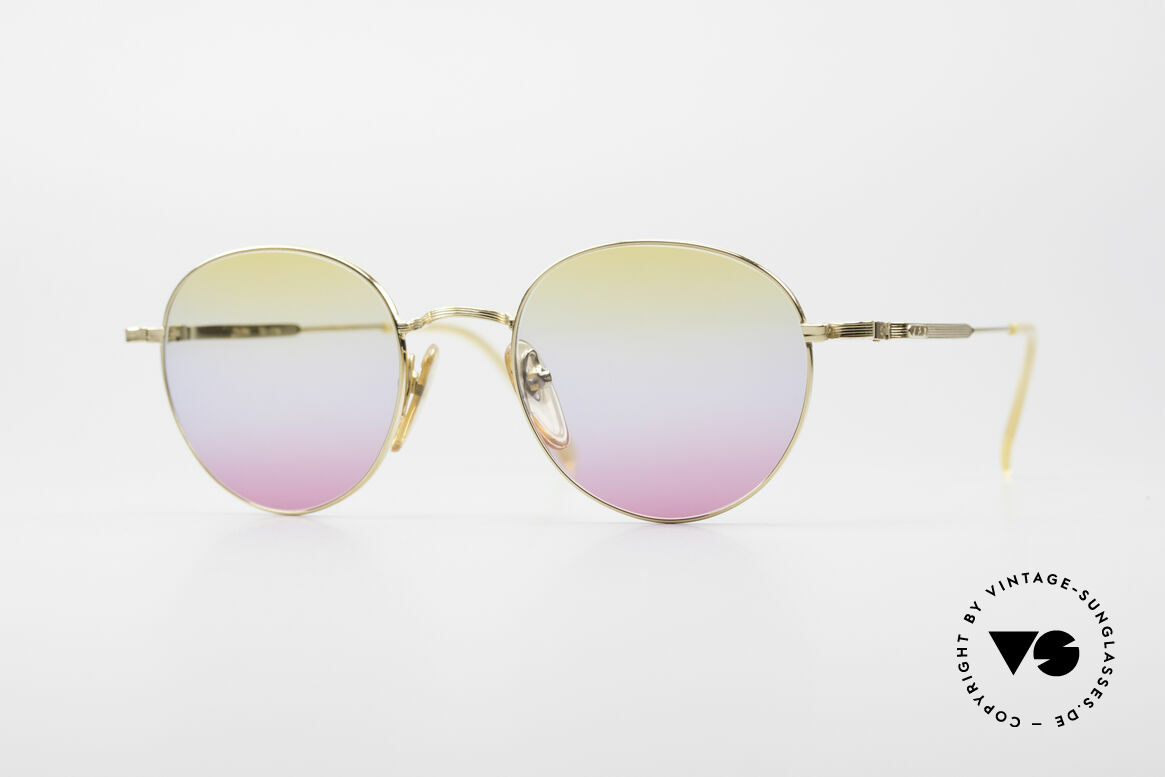 Jean Paul Gaultier 55-1174 Gold Plated Panto Frame, round vintage designer sunglasses by J.P. GAULTIER, Made for Men and Women
