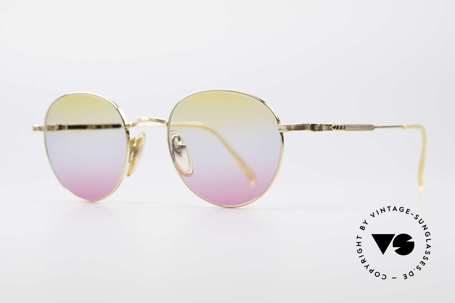 Jean Paul Gaultier 55-1174 Gold Plated Panto Frame, with fancy tricolored-gradient sun lenses (100% UV), Made for Men and Women