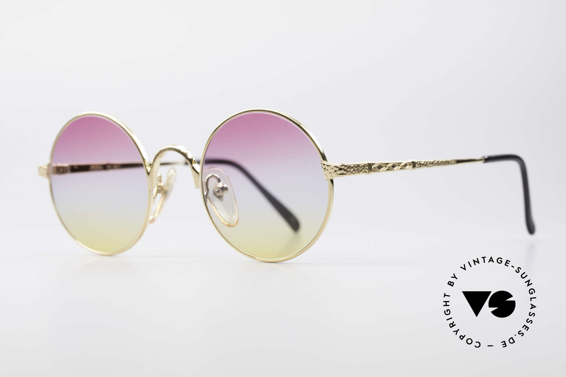 Jean Paul Gaultier 55-9671 Gold Plated Round Frame, 22kt GOLD-PLATED and tricolored sun lenses, Made for Men and Women