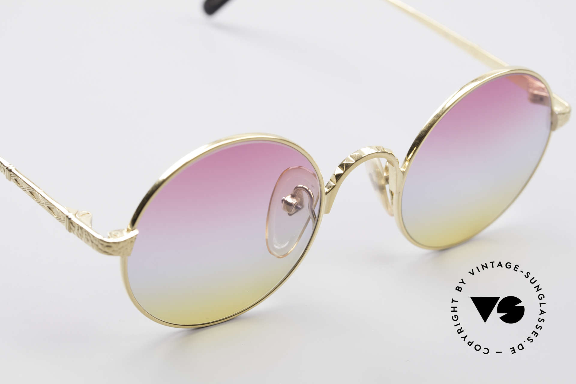 Jean Paul Gaultier 55-9671 Gold Plated Round Frame, NO RETRO shades, but an old 90s JPG Original, Made for Men and Women