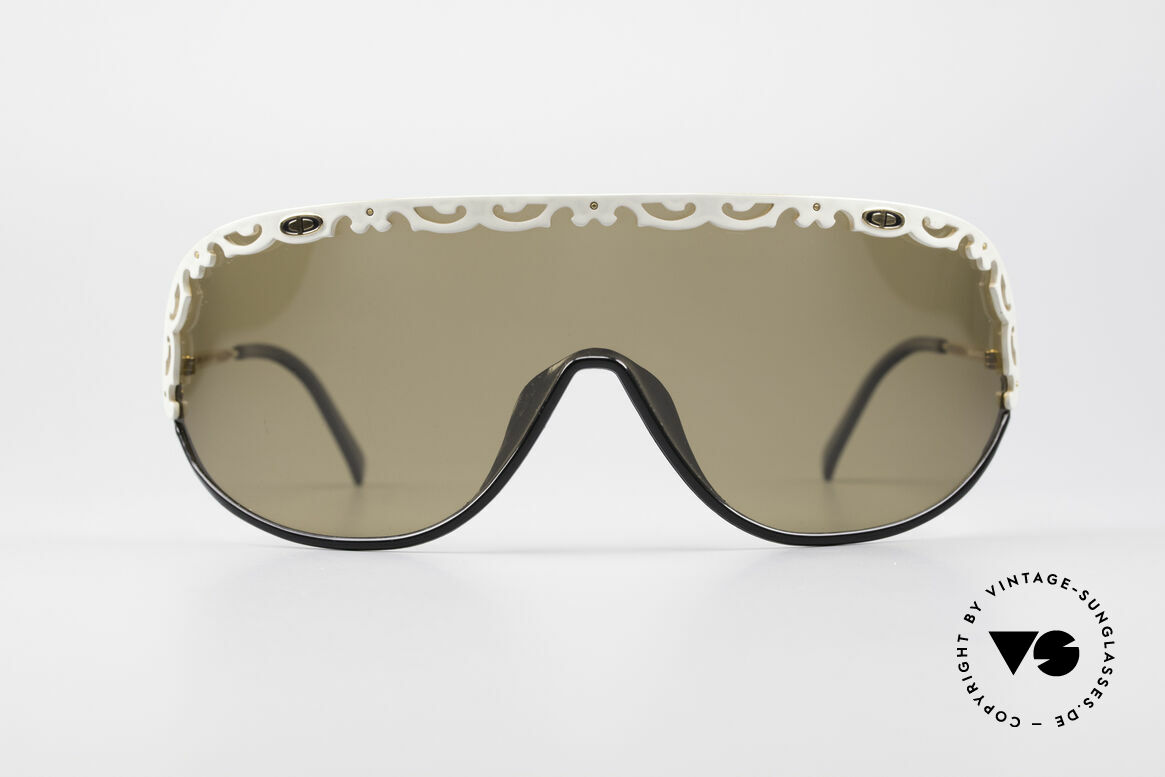 Christian Dior 2501 80's Sunglasses Ladies, one large, single shade with white appliqué; just unique, Made for Women