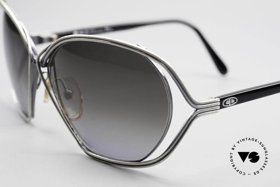 Christian Dior 2499 Ladies Sunglasses 80's, 'antique silver' finish & big gray-gradient sun lenses, Made for Women
