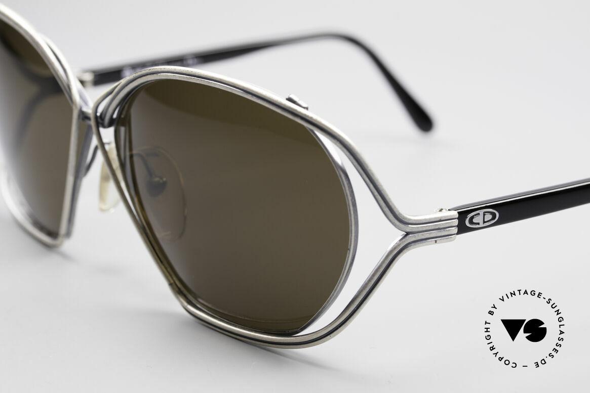 Christian Dior 2499 1980's Ladies Sunglasses, 'antique silver' finish & big gray sun lenses, 100% UV, Made for Women