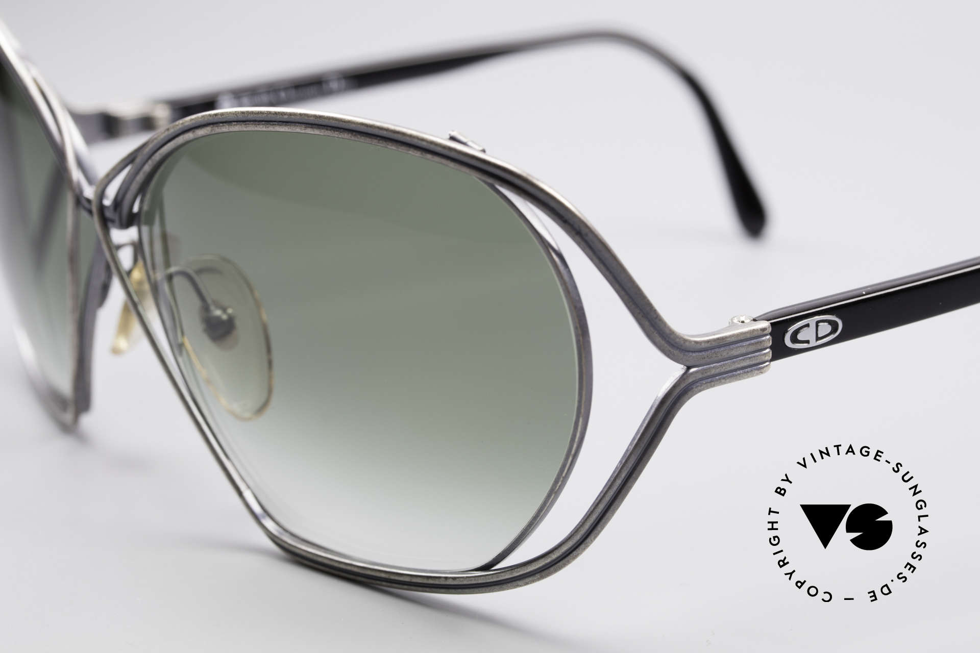 Christian Dior 2499 Ladies XL 80's Sunglasses, 'antique silver' finish and green-gradient sun lenses, Made for Women