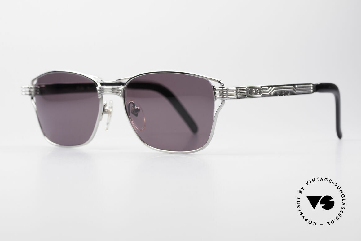 Jean Paul Gaultier 56-4173 Striking Square Sunglasses, interesting metal frame with many costly details, Made for Men