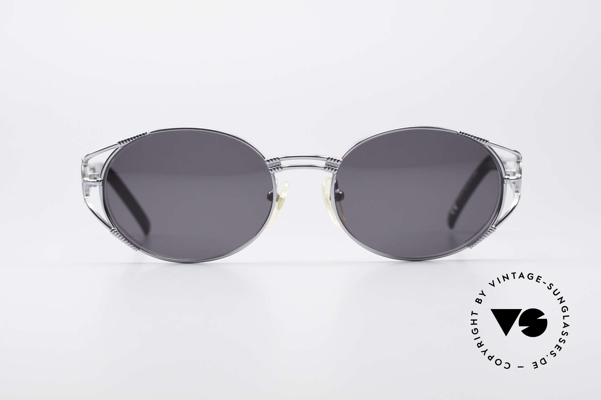 Jean Paul Gaultier 58-5106 Oval JPG Steampunk Shades, JPG sunglasses from 1997 with shiny silver finish, Made for Men and Women