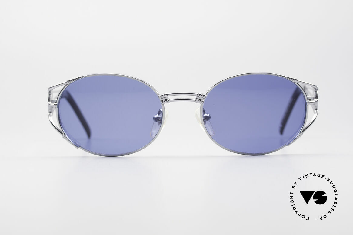Jean Paul Gaultier 58-5106 JPG Oval Steampunk Shades, JPG sunglasses from 1997 with shiny silver finish, Made for Men and Women