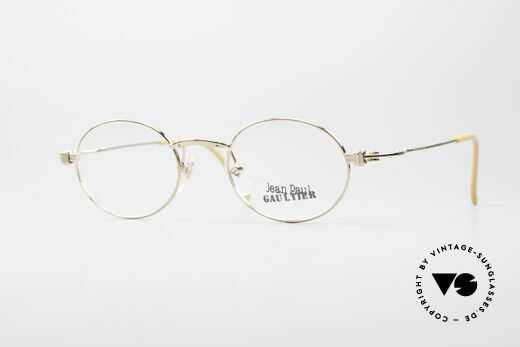 Jean Paul Gaultier 55-6105 Oval Vintage Glasses Gold Details