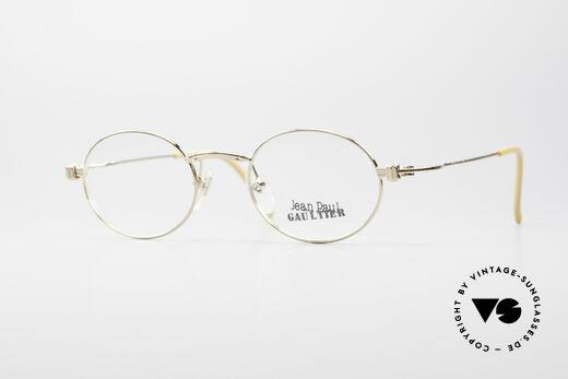 Jean Paul Gaultier 55-6105 Oval Vintage Glasses Gold Details