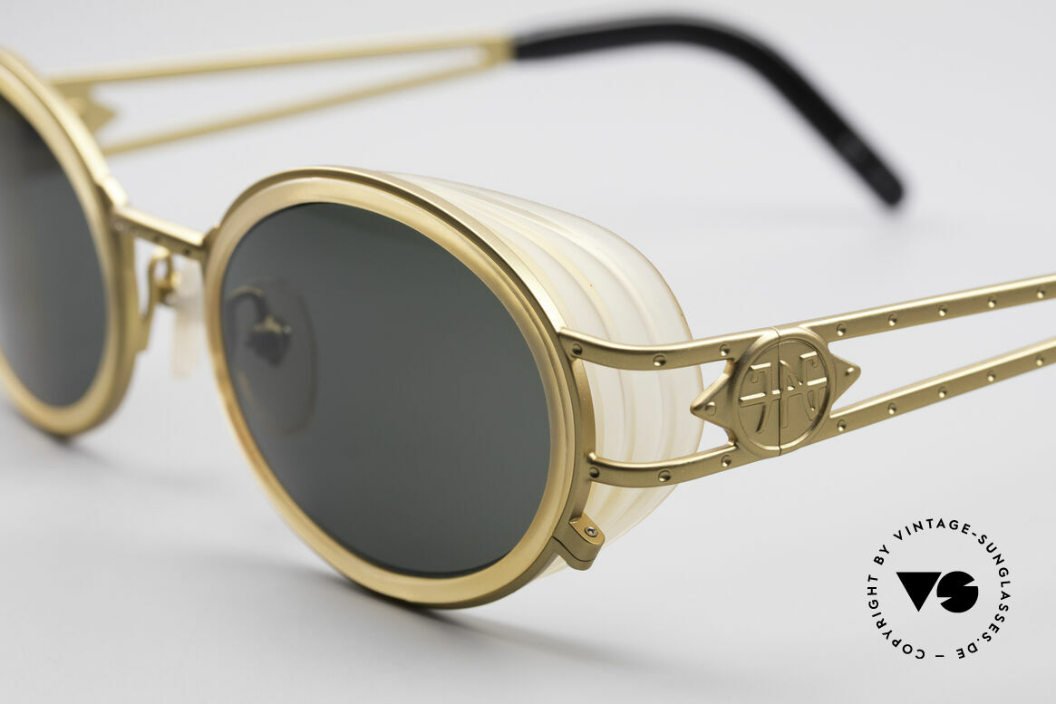 """Jean Paul Gaultier 58-6202 Side Shields Sunglasses, often called as """"steampunk sunglasses"""" in these days, Made for Men and Women"""