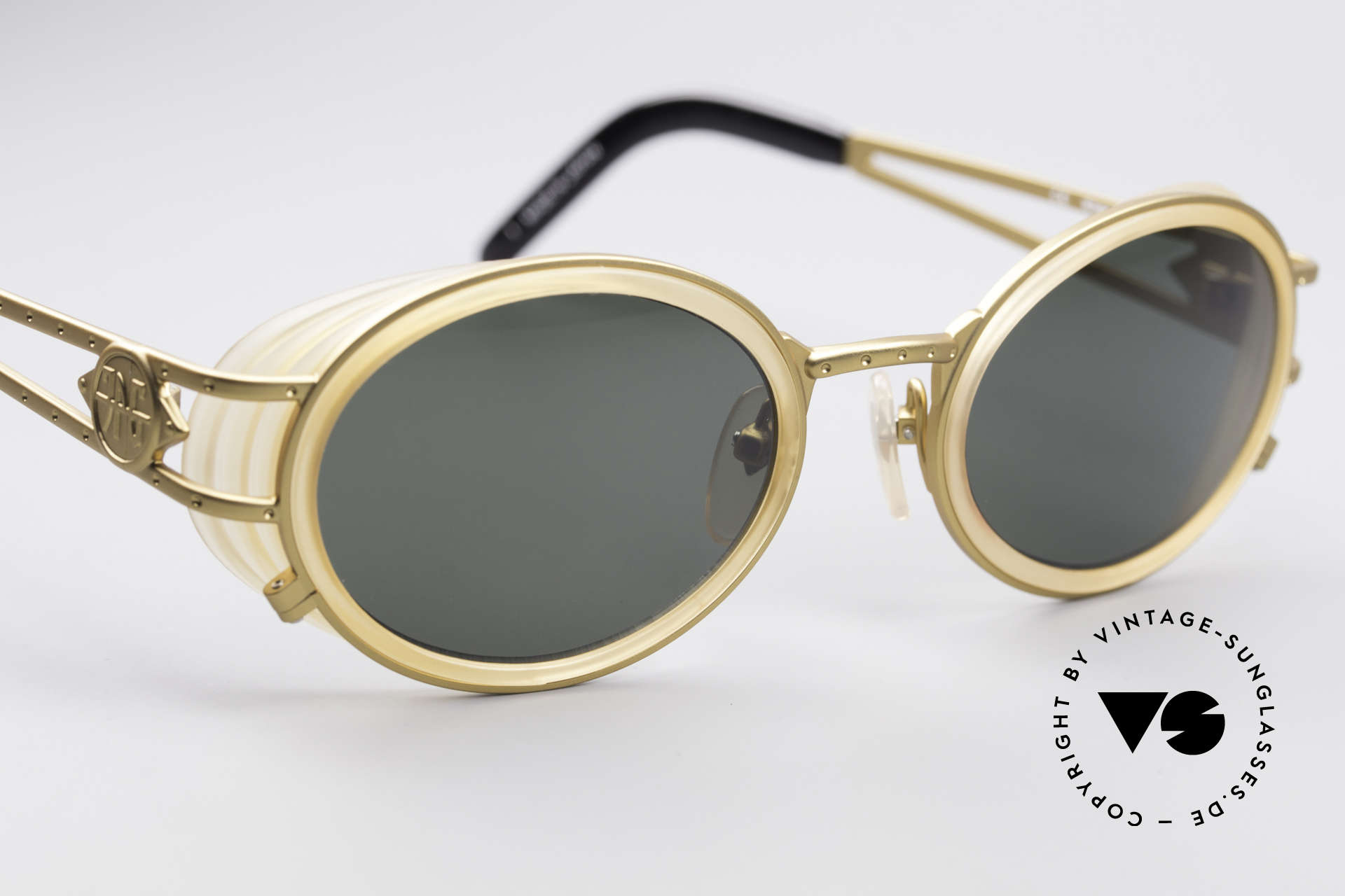 Jean Paul Gaultier 58-6202 Side Shields Sunglasses, unworn original from 1998 with orig. JP Gaultier case, Made for Men and Women