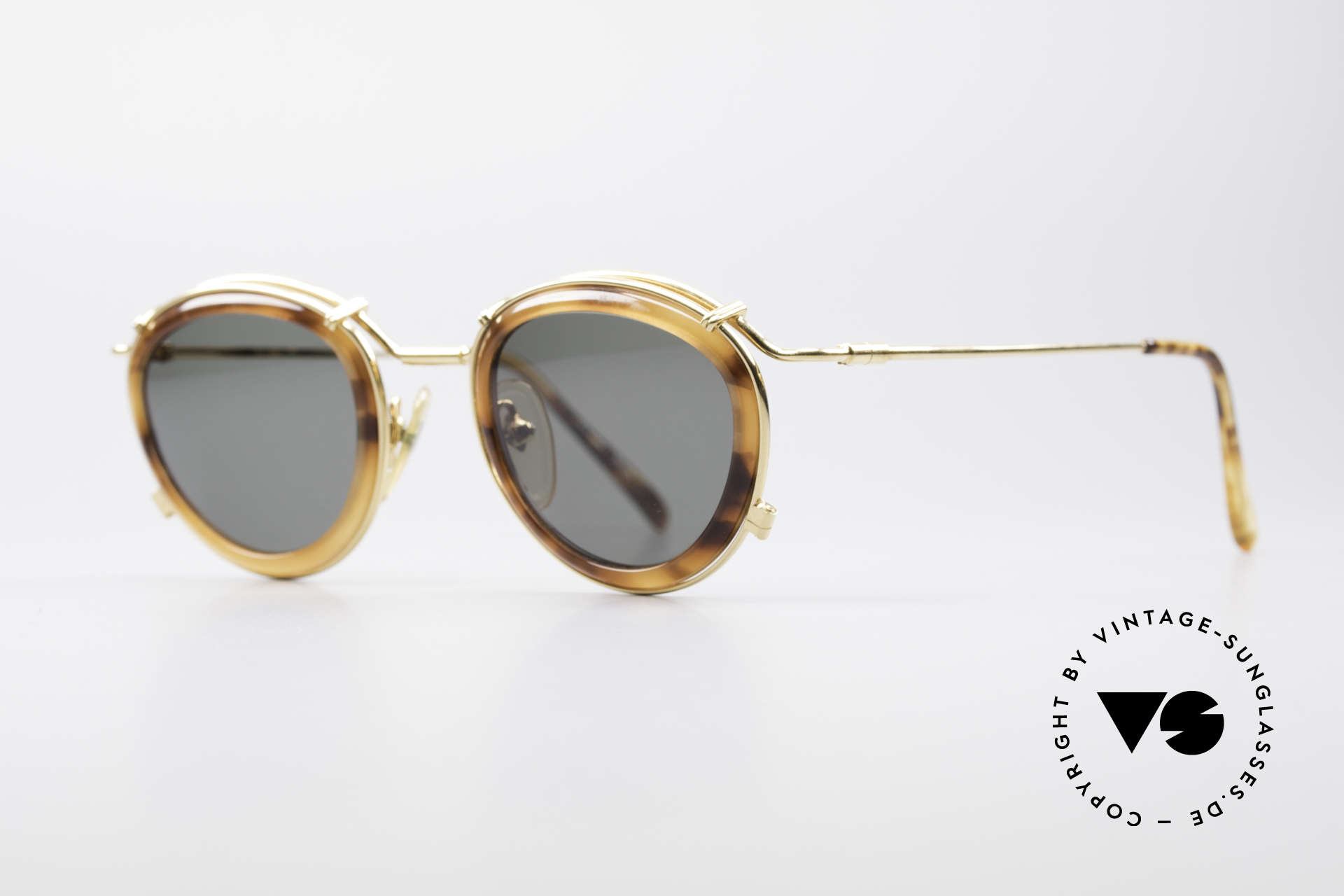 Jean Paul Gaultier 56-2271 Steampunk Designer Shades, GOLD-PLATED metal frame with tortoise plastic rings, Made for Men and Women