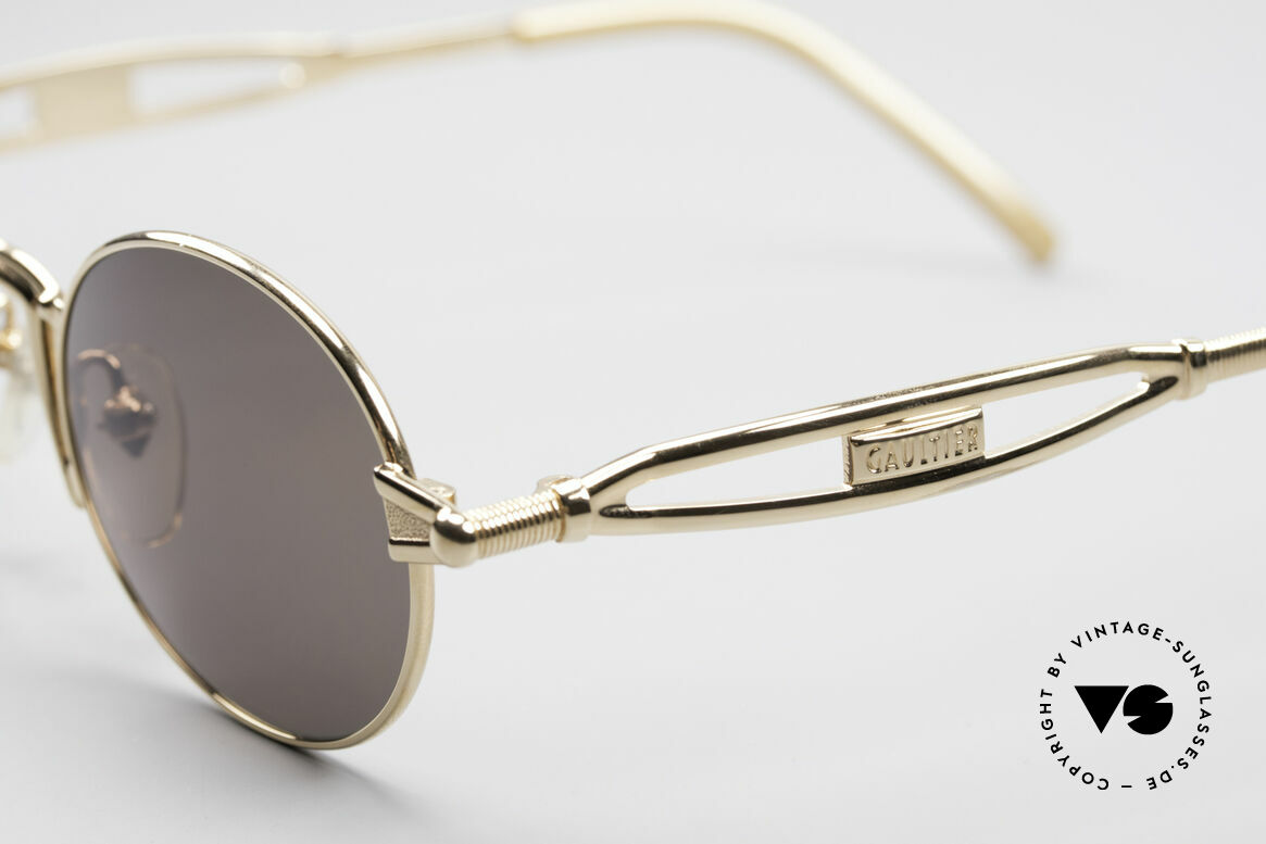 Jean Paul Gaultier 56-7108 Gold-Plated Oval Sunglasses