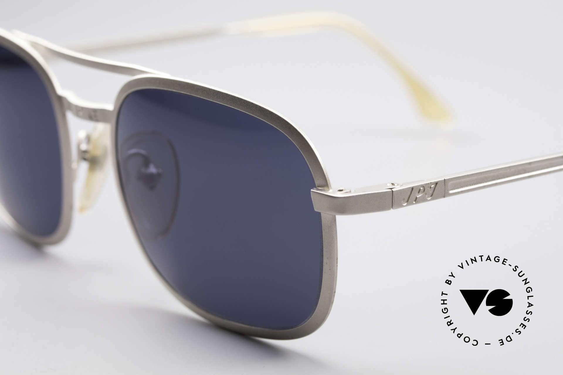 Jean Paul Gaultier 56-1172 Classic Timeless Sunglasses, dull silver frame with deep blue sun lenses (100% UV), Made for Men