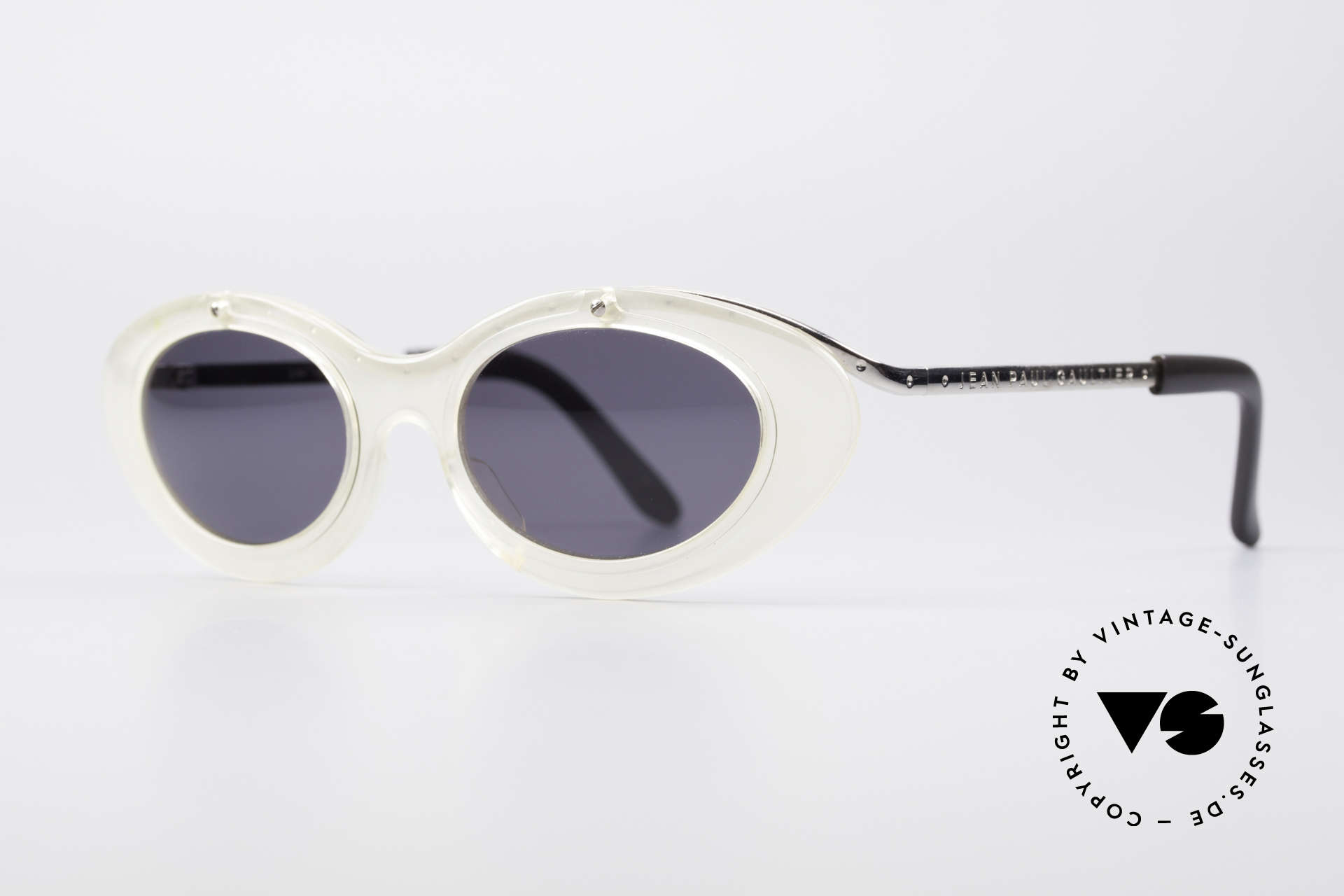 Jean Paul Gaultier 56-7201 Designer Ladies Sunglasses, front appears like frosted glass / translucent glass, Made for Women