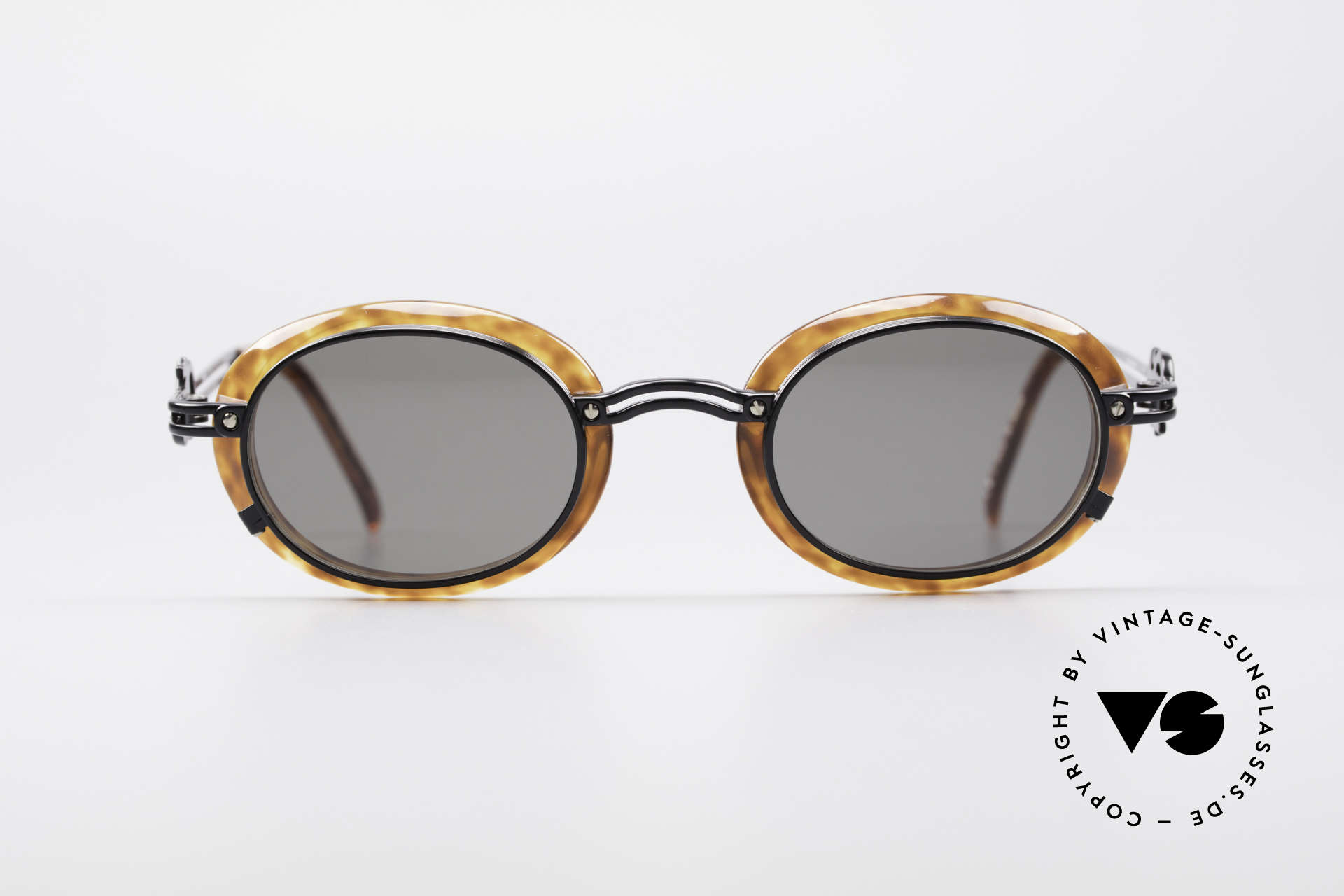 Jean Paul Gaultier 58-5201 Rare 90's Steampunk Shades, great combination of materials and design details, Made for Men and Women
