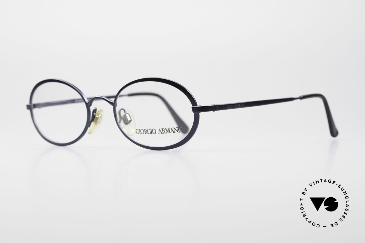 Giorgio Armani 277 90's Oval Vintage Eyeglasses, deep blue frame finish and flexible spring hinges, Made for Men and Women
