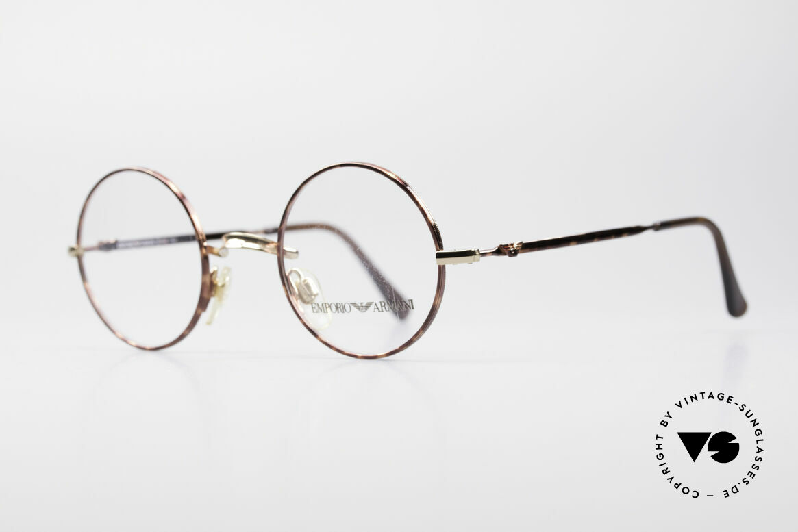 Giorgio Armani EA013 Small Round Vintage Glasses, timeless frame finish in chestnut / gold colored, Made for Men and Women