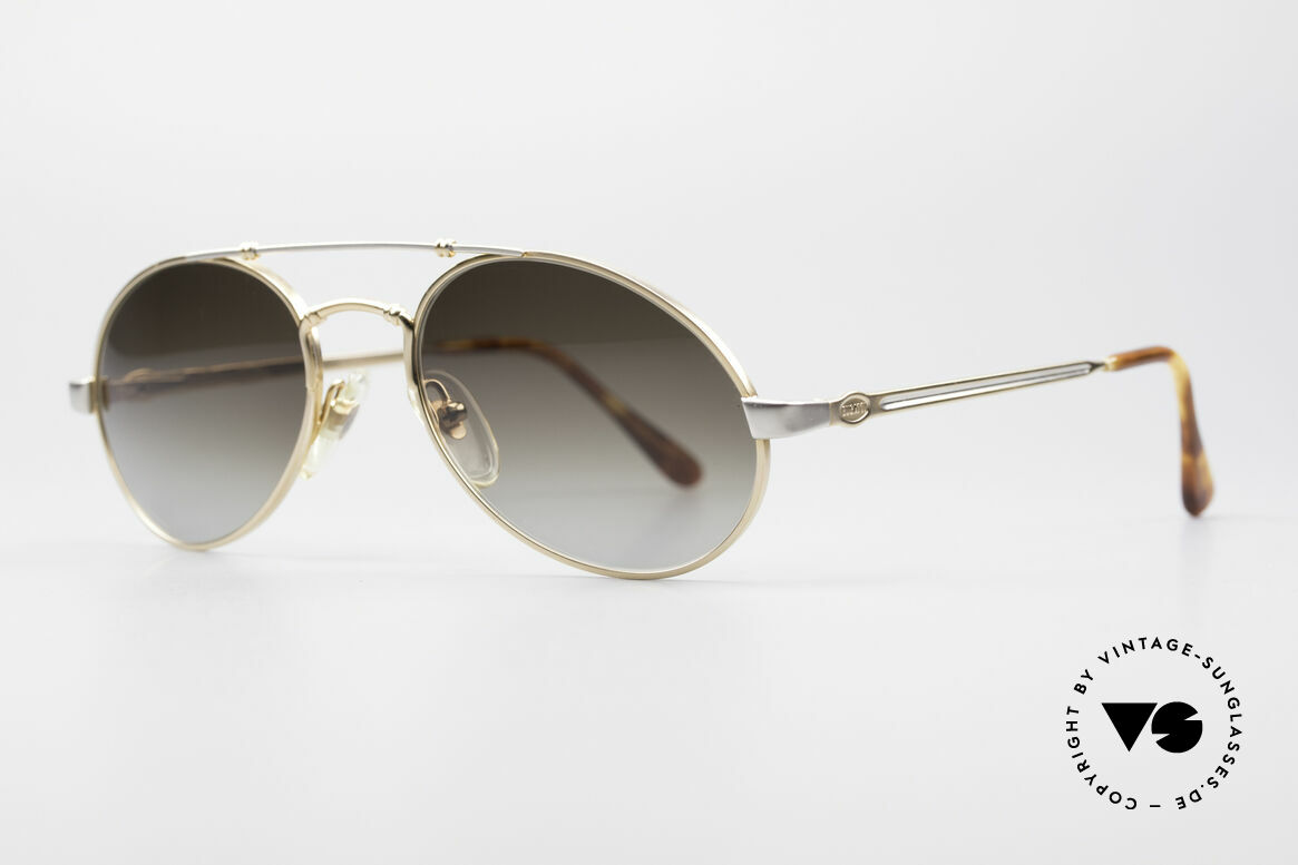 Bugatti 18503 Men's 90's Sunglasses, spring hinges & brilliant frame finish in gold / silver, Made for Men