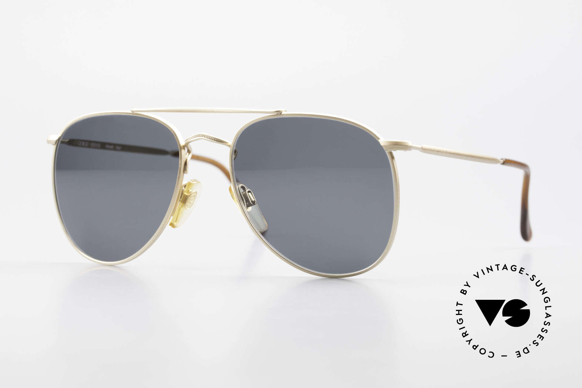 Giorgio Armani 149 Small 90'S Aviator Sunglasses, discreet dull gold framework with double bridge, Made for Men and Women