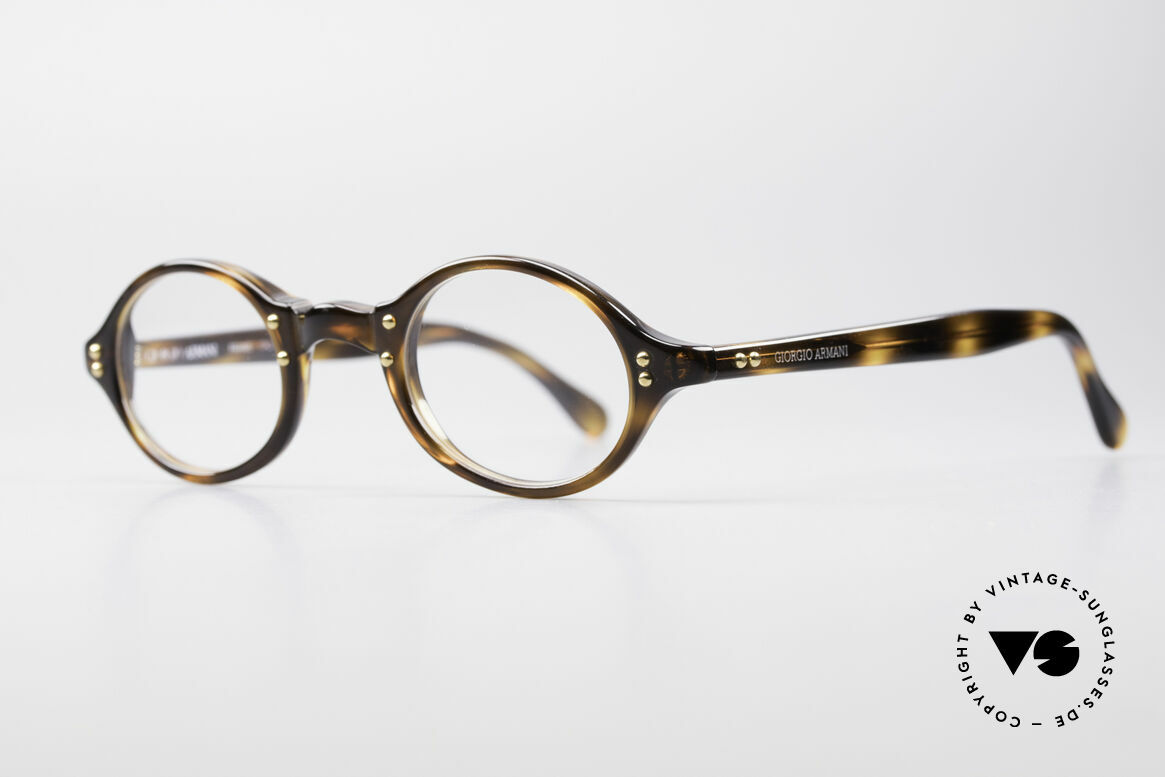 Giorgio Armani 342 Small Oval 90's Eyeglasses, tortoise frame with golden rivets in premium-quality, Made for Men and Women