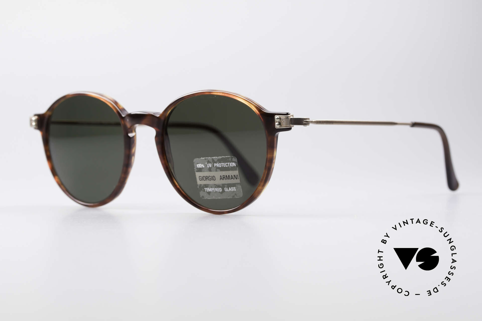 Giorgio Armani 358 Vintage Panto Sunglasses, coated & non reflecting mineral lenses (GA-engraving), Made for Men