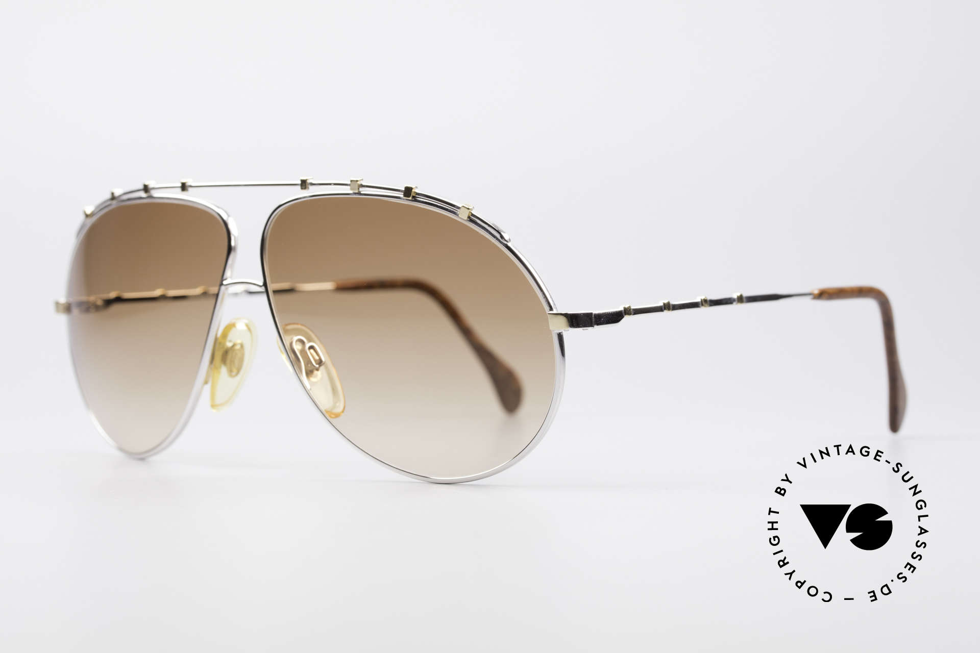 Zollitsch Marquise Rare Vintage Sunglasses, stylish silver designer piece with small golden rivets, Made for Men