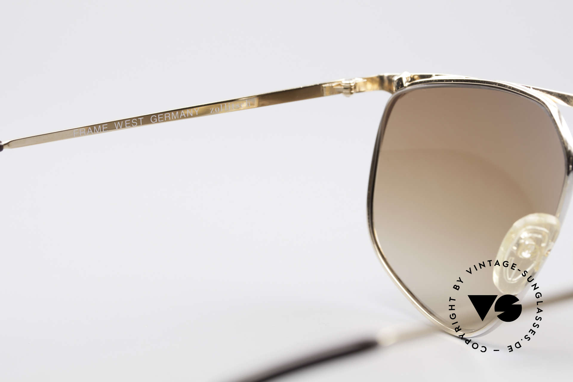 Zollitsch Cadre 9 18kt Gold Plated Sunglasses, NO RETRO fashion, but a rare 30 years old ORIGINAL, Made for Men