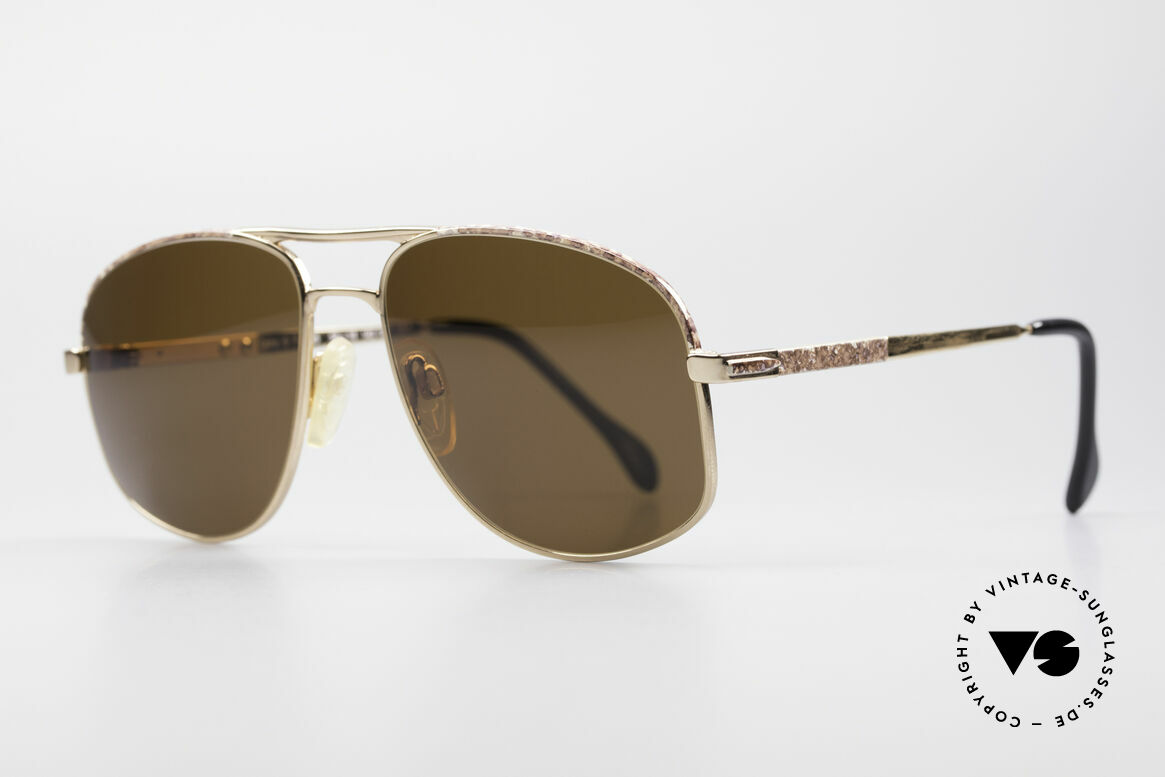 Zollitsch Cadre 8 18k Gold Plated Sunglasses, high-end quality (string hinges) and 'brown-marbled', Made for Men