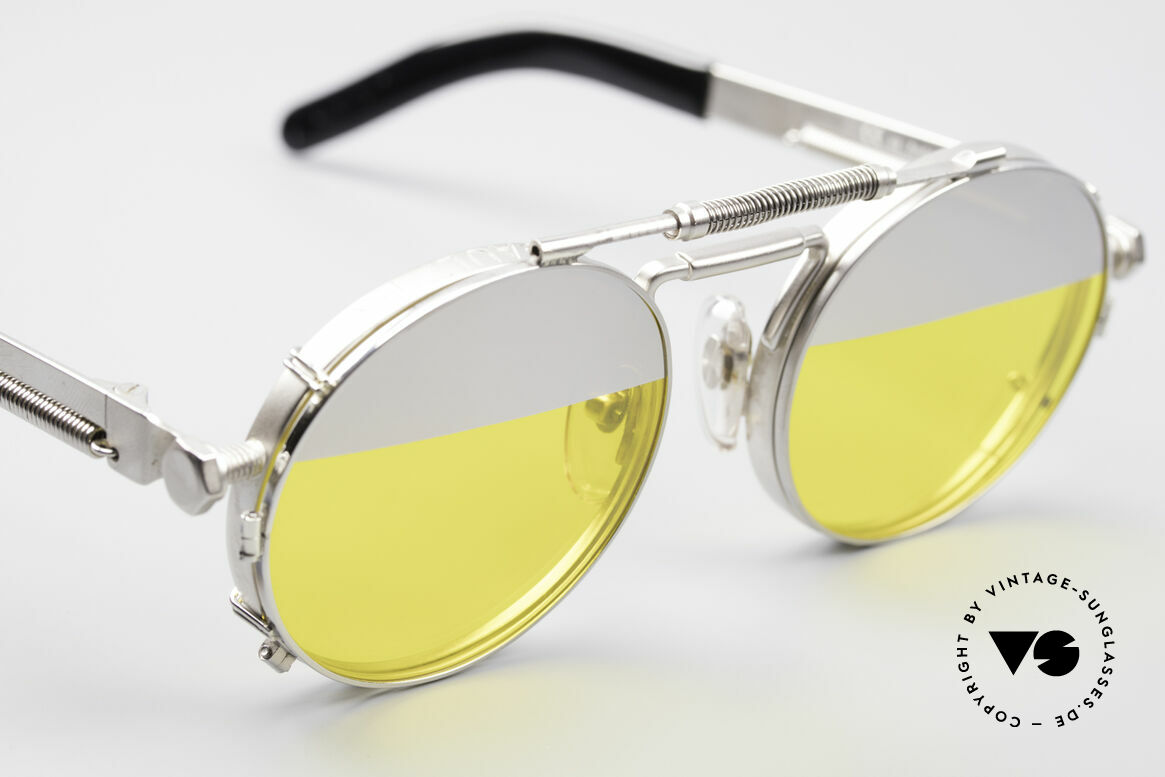 Jean Paul Gaultier 56-8171 Steampunk Glasses with Clip, sun lenses are 1/3 silver-mirrored and 2/3 yellow tinted, Made for Men and Women