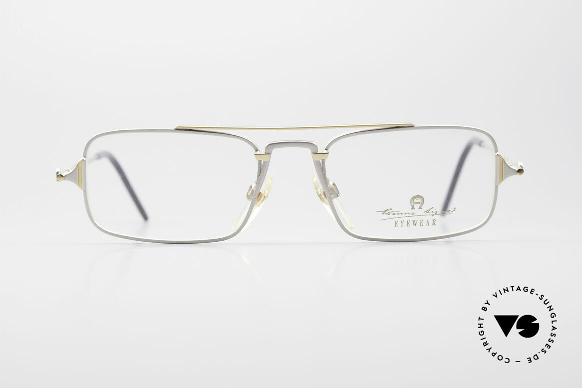 Aigner EA44 Rare 80's Vintage Eyeglasses, square (titanium/gold) frame with Aigner symbols, Made for Men