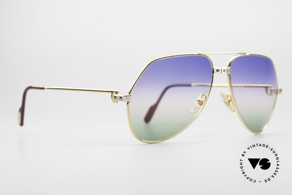 Cartier Vendome Santos - L Rare Luxury 80's Sunglasses, Santos Decor (with 3 screws) in LARGE size 62-14, 140, Made for Men