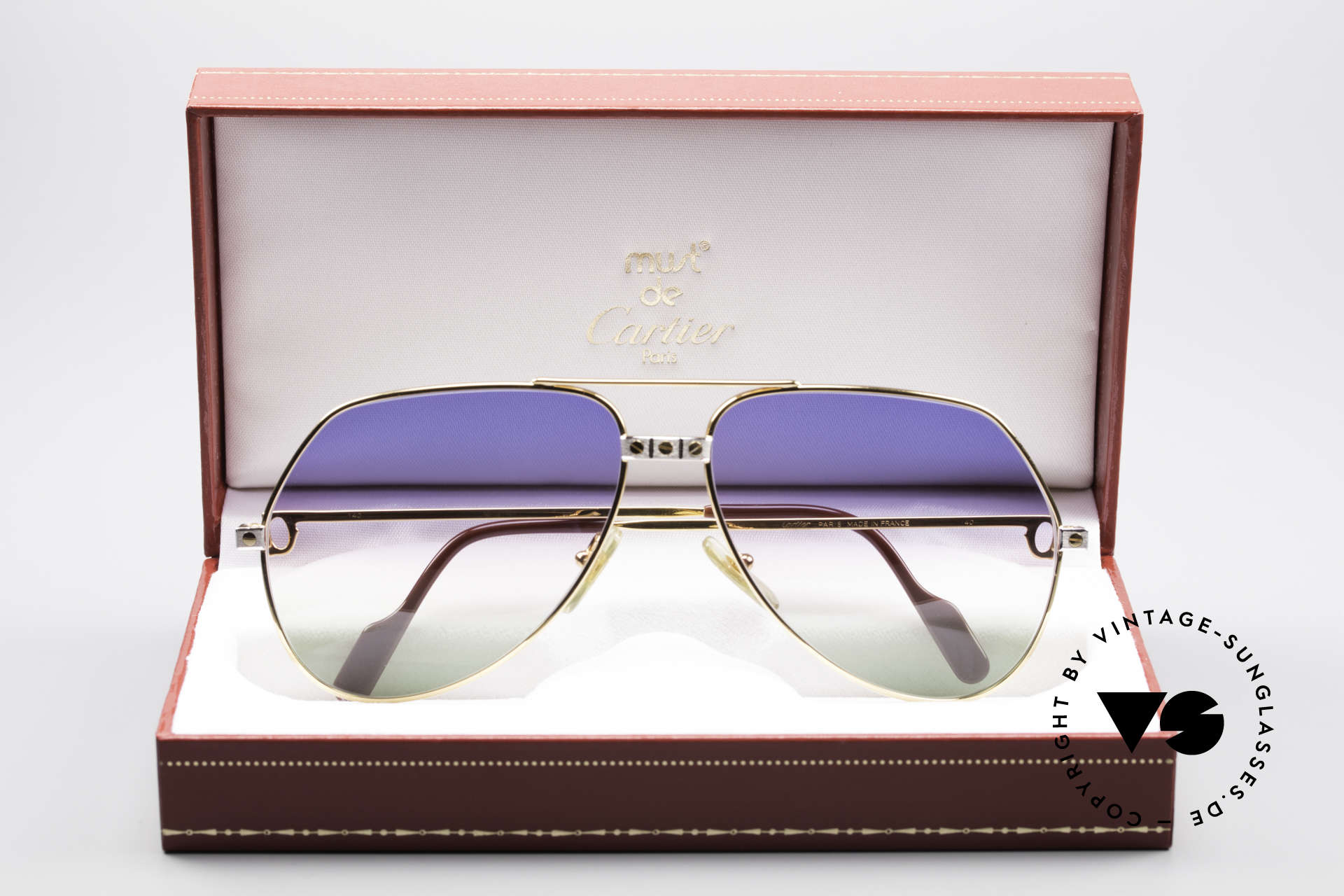 Cartier Vendome Santos - L Rare Luxury 80's Sunglasses, with extremely rare customized sun lenses (100% UV), Made for Men